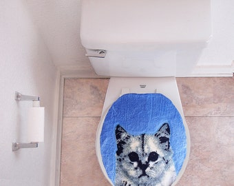 SALE Cat Toilet Lid Cover Bathroom Vintage kitty retro funny