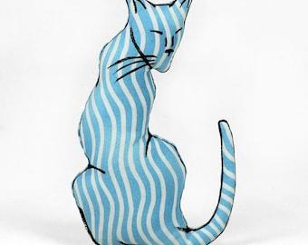 decorative pillow, cat pillow, animal pillow, cat shaped small pillow, kitty shaped pillow, blue striped fabric