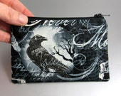 Wicked - Coin Purse - Change Purse - Zippered Pouch - Skull - Raven - Moon - Gothic - Nevermore - Black - Gray - Spooky - Witches