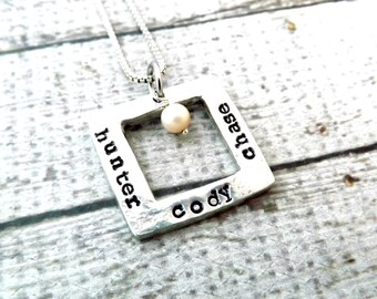 personalized necklace-mothers necklace-mothers gift-mommy necklace- christmas gift-square necklace-personalized jewelry-gift for mom-moms