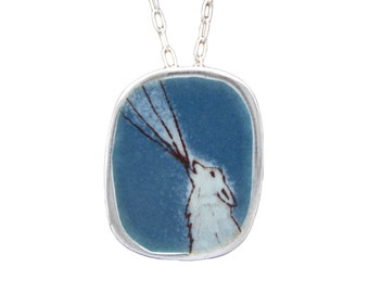 Howling Wolf Necklace - Sterling Silver and Vitreous Enamel Wolf Pendant