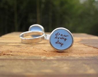 Draw Every Day Ring - Sterling Silver and Vitreous Enamel Message Ring - Ring for Artists and Illustrators