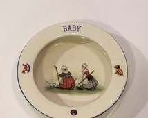 Baby Food Dish ~ Made in Slovakia Children's Dish ~ Children's Baby Dish 1920s ~ Antique Children's Dish