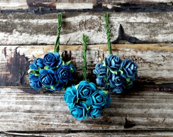 30pcs . Turquoise Blue Paper Roses . Small Paper Flowers . Wedding Paper Flowers . Turquoise Navy Blue Wedding . Boutonniere Corsage Flowers