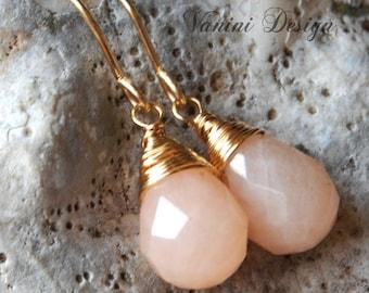 Peachy pink aventurine,14k Gold fill dangle drop earrings