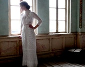 Edwardian Era Embroidered White Cotton Dress Size XS