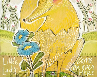 Art Print, The Wolf from The Little Red Fabric collection by Cori Dantini & Blend Fabrics , Archival Limited edition reproduction