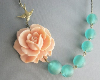 Sea Glass Jewelry,Bridesmaid Gift,Sea Glass Necklace,Peach Flower Necklace,Peach Necklace,Teal Necklace,Bridesmaid Jewelry,Bib Necklace