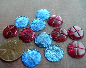 Large Mixed Lot Vintage Reflector Cabochons - Sew-ons Ruby Garnet and Sapphire Blue gold foil backs lot of 12