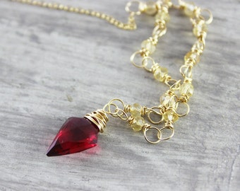 Red and Yellow Necklace, Citrine Gemstone Necklace, Wire Wrap Necklace, Dark Red Necklace, Arrowhead Necklace, Gold Filled Necklace