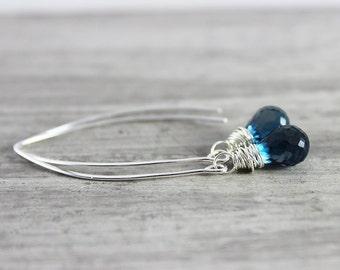 London Blue Topaz Earrings, Sterling Silver Earrings, Long Dangle Earrings, Wire Wrap Earrings, Topaz Gemstone Earrings, Dark Blue Earrings