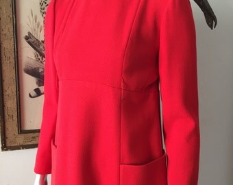 Bright Red Geoffrey Beene 60s Mod Dress