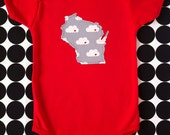 state baby onesie or toddler tee -- heart in cloud, grey pattern -- custom state
