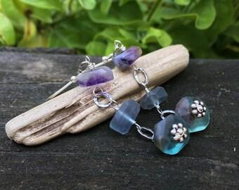 Fluorite Sterling Silver Earrings, Genuine Gemstones, Long Dangle, Purple Blue Teal, Chunky Faceted Nuggets, Wirewrap Handmade Jewelry