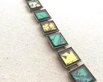 Emeralds and Butterscotch Mosaic Bracelet