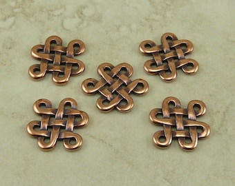 5 Large TierraCast Celtic Open Knot Eternity Link Charms > Irish St Patrick's - Copper Plated Lead Free Pewter - I ship internationally 3005