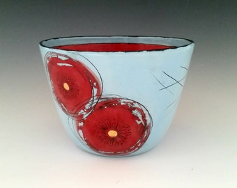 Ceramic Bowl with Gold Luster Red Poppies