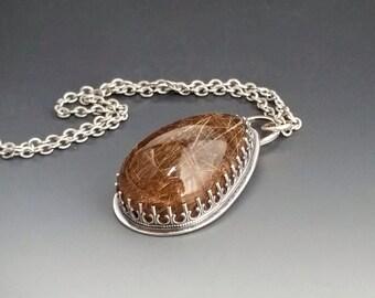 "1.75"" Rutilated Quartz Sterling Silver Pendant"