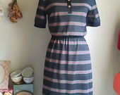 Cool Vintage 70s Polo Stripe Knit Shirt Dress