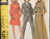 Vintage Pattern McCall's 2054 - Double Breasted Princess Coat and Pants Suit 1960's Vintage Sewing Pattern