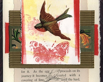 Collage Greeting Card Friendship Thinking of You Bird