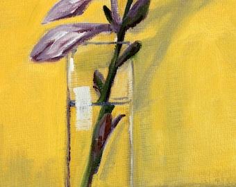 Oil Painting, Original Still Life, Purple Flower, Golden, Lavender Bloom, Small 5x7 Canvas, Spring Minimalist Art, Romance, Glass Vase