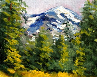 Original Landscape Oil Painting, Oregon Mountain, Small, 5x7, Canvas, Blue, Green, Gold, Evergreen Trees, Woodland  Scene, Field Forest