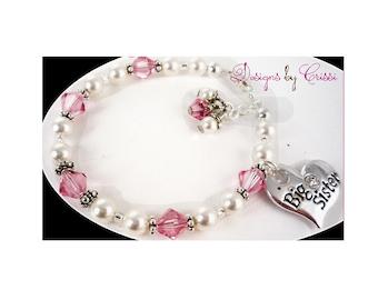 Pearl and crystal Big Sister Bracelet, Little Sister Bracelet, custom charm jewelry