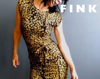 Black Jersey Dress - iheartfink Handmade Hand Printed Womens Metallic Gold Floral Art Print Little Black Mini Dress