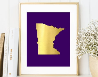 Minnesota State Map Print - Minnesota Vikings - Real Gold Foil - Minnesota Art Print - Minnesota Poster - Viking Pride Gold Purple