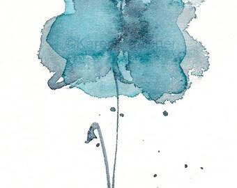 "Indigo watercolor flower art print: ""Waiting in the Wings"""