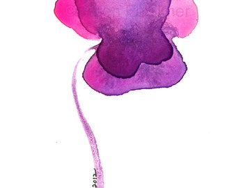 "Watercolor flower print of a violet pansy flower:  ""A Sweet Violet"""