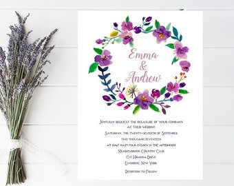 Floral Wreath Wedding Invitation - Wedding Invitations, Floral, Purple Wedding