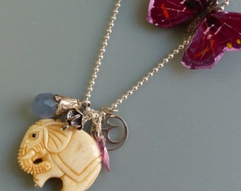 Charm Necklace with elephant pendant