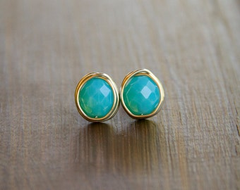 Caribbean Blue Wire Wrapped Stud Earrings - Aqua Beads Wrapped in Silver Wire