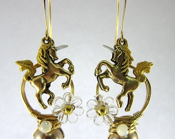 Unicorn Earrings, Gold Unicorn Jewelry, Fantasy Unicorn Jewelry, Gold Woodland Earrings, Enchanted Jewelry, Mythical Horse Jewelry, Gifts