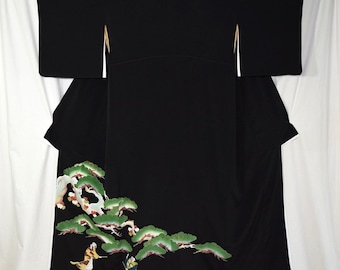 Vintage Japanese Tomesode Kimono Woman's Robe Collectible Display - Jotomba