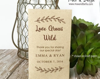 DIY Custom Seed Packets, Custom, Kraft, Personalized Envelopes, Wedding Favors, Bridal Shower, Seed Packet, Let Love Grow, Love Grows Wild