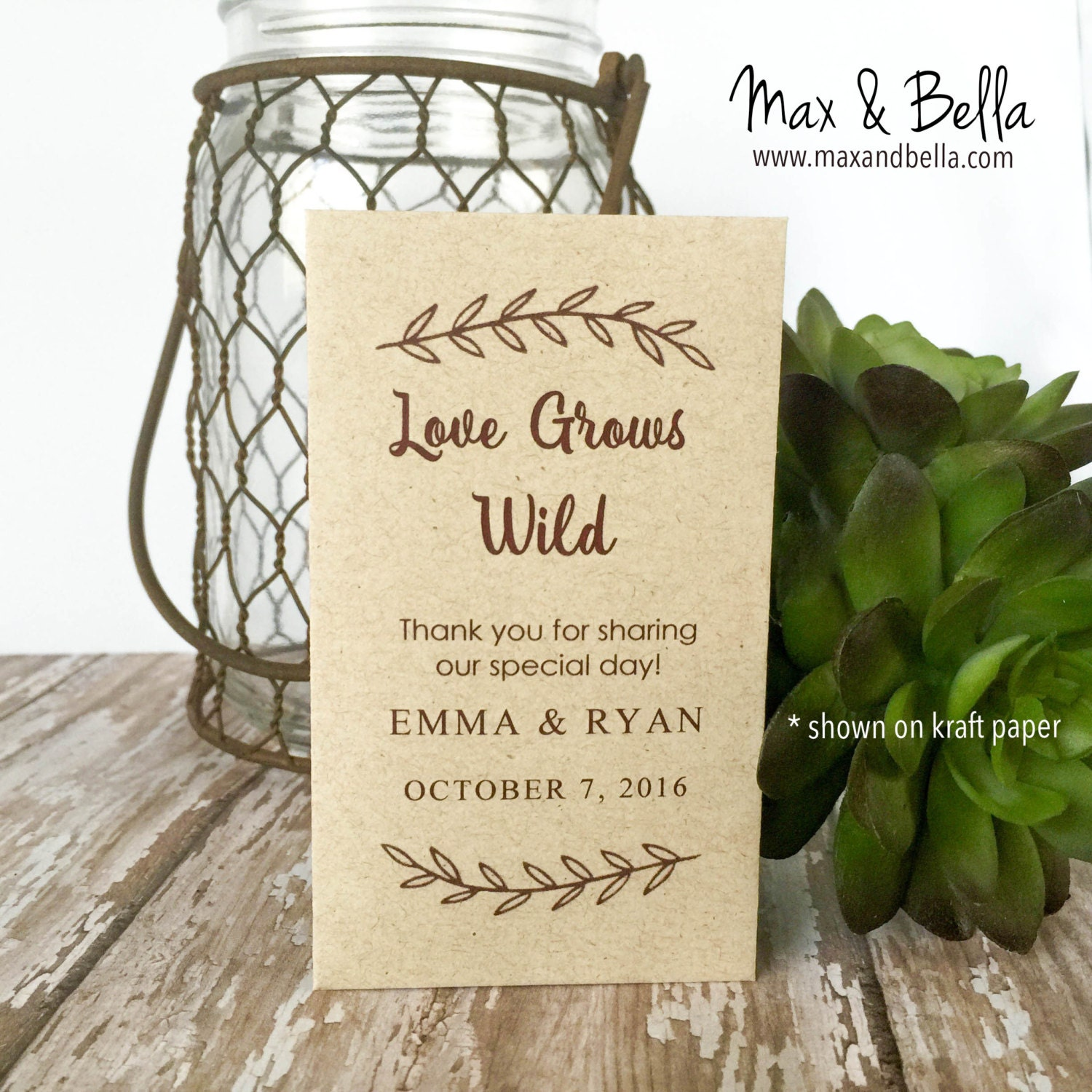 DIY Custom Seed Packets Kraft Personalized Envelopes Wedding Favors Bridal Shower Packet Let Love Grow Grows Wild