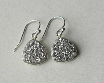 SALE Silver Druzy Earrings, Druzy Jewelry, Drusy Jewelry, Small Drop Earrings, Silver Druzy Jewellery, Holiday Jewelry, Jewelry Gift Sparkly