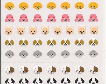 Tiny Dog Heads Sticker Sheet-One Point Seal-Premium Simple Collection-Japan
