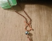 Copper Teardrop necklace with front toggle closure