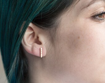 Solid 14k Recycled Gold Bar Earrings