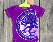 Shiva batik organic cotton one piece short sleeved Eco friendly purple hand drawn hand painted hand dyed Baby Girls' Clothing 3 to 24 months