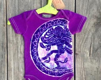 Shiva batik organic cotton one piece short sleeved bodysuit purple hand drawn hand painted hand dyed Baby Girls Clothing newborn gift