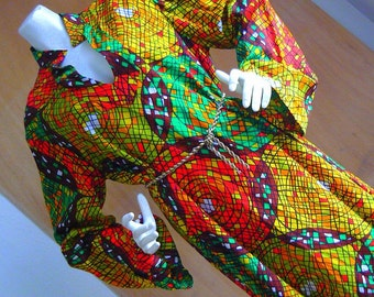Vintage 60s Kaftan Dress BODACIOUS OPTIC Maxi Caftan Tunic Bell Sleeves Mod Design Colorful medium size 10 12 14