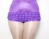 Vintage Purple Ruffle Underwear - High waisted Underwear- Plus Size underwear Vintage- Plus Size Halloween Costume Purple Ruffle Pannties XL