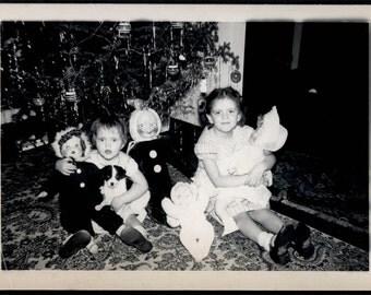 vintage photo 1950s Christmas Tree Doll toys Dog Vintage Snapshot