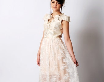 Lace wedding dress, Short wedding dress, Ivory silk wedding dress, Romantic wedding dress, Fairy wedding dress, MALAM