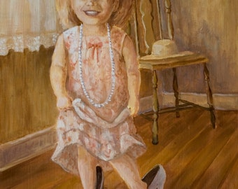 Original Oil Painting - Playing Dress-Up